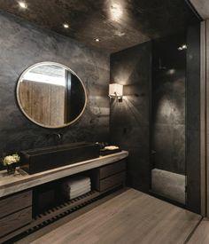 modernes designer badezimmer in schwarz - runder spiegel