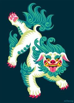 """Tibetan Snow Lion """"""""The Snow Lion resides in the East and represents unconditional cheerfulness, a mind free of doubt, clear and precise. It has a beauty and dignity resulting from a body and mind. Tibetan Tattoo, Tibetan Art, Tibetan Dragon, Tibetan Buddhism, Tibetan Symbols, Foo Dog Tattoo, Fu Dog, Illustration Vector, Botanical Illustration"""