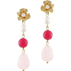Long pink quartz earrings with imitation pearls and cubic zirconia. Dangling earrings. Victorian style.
