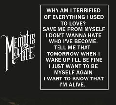 Sleepless Nights -Memphis May Fire. No song could ever relate to me more than this song. You want to know how I truly feel? Music Lyrics, Music Quotes, My Music, Ill Be Fine, Memphis May Fire, I Want To Know, Sleepless Nights, Save Me, Tell Me