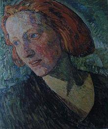 """Bild """"Die Rote Marie"""", 1919, gemalt von Heinrich Vogeler. Marie von  Griesbach - Schriftstellerin, mit dem Maler Heinrich Vogeler befreundet – Wikipedia"""