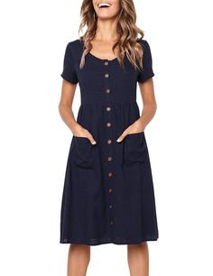 Dress Holiday Summer Casual Beach Solid Short Sleeve VNeck Buttons Party Ladies Dresses Vestidos Verano Xsl Size S Color black Party Dresses For Women, Casual Dresses For Women, Short Sleeve Dresses, Dresses For Work, Long Sleeve, Dress Casual, Casual Knee Length Dresses, Casual Outfits, Beach Outfits