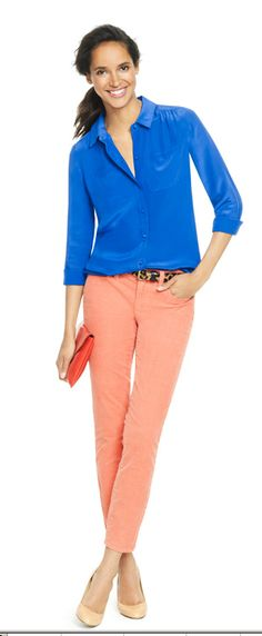 Jcrew Outfit inspiration - color combo to try: royal blue & peach!