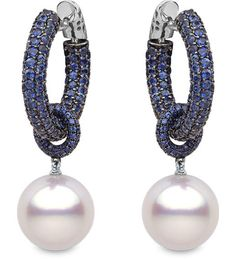 Yoko London - Belgravia Collection - 18k black gold earrings with 10.49cts. of sapphires south sea pearls 14 - 15 mm.
