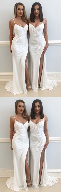 White Prom Dresses, Long Prom Dresses, 2018 Prom Dresses For Teens, Sheath/Column Prom Dresses V-neck, Jersey Prom Dresses Ruffles Modest #partydress #promdresses