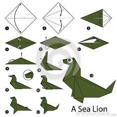 Instrucciones paso a paso cómo hacer papiroflexia un león marino