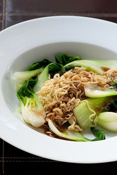 2 minute noodles with boy choy & oyster sauce by jules:stonesoup, via Flickr