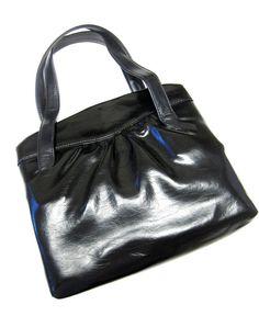 Black Shiny Purse Firmsided Handbag Rockabilly by sweetie2sweetie, $10.99