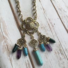 Serenity Crystal Look Boho Necklace (Bronze) – shopdevi