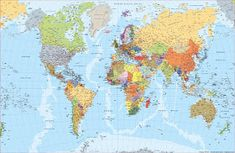 Decorate your walls with a map wallpaper mural or flag wallpaper mural. From conference rooms to kids' rooms, our wallpaper mural maps fit any décor. World Map Mural, World Map Poster, Map Posters, World Political Map, Map Nursery, Nursery Room, National Geographic Maps, Map Pictures, Wall Maps