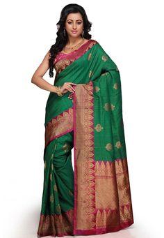 Dark Green Pure Handloom Tussar Silk Banarasi Saree with Blouse: SAVA230