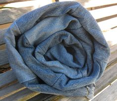 Large Upcycled Denim Picnic Rag Quilt Made for an Adoption Fundraiser