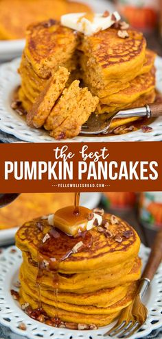 Pumpkin Pancakes are a perfect way to celebrate the flavors of fall! Fluffy and tender and so delicious, topped with butter, pecans and warm maple syrup. Brunch Recipes, Dessert Recipes, Breakfast Recipes, Breakfast Dishes, Desserts, Pumpkin Recipes, Fall Recipes, Pumpkin Pancakes Easy, Best Pumpkin