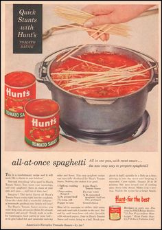 All at Once Spaghetti is part of All At Once Spaghetti Taste Of Southern - Inspired by a vintage magazine ad from Hunt's Tomato Sauce, we're trying this one pot spaghetti and showing you how to make it as well Printable recipe Retro Recipes, Old Recipes, Vintage Recipes, Beef Recipes, Cooking Recipes, 1950s Recipes, Cheese Recipes, Recipies, Paula Deen