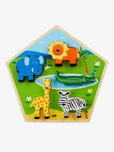 Holzpuzzle Dschungeltiere - Mehrfarbig - 2 Puzzles, Nintendo 64, Baby, Games, Logos, Gaming, Toys, Kids, Puzzle