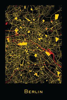 Berlin, Germany map prints by Ræ | Nordico