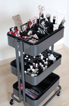 The IKEA Raskog, the humble little utility cart that only costs thirty dollars, . The IKEA Raskog, Raskog Ikea, Ikea Makeup Storage, Diy Makeup Organizer, Ikea Storage, Dorm Storage, Storage Organizers, Storage Drawers, Makeup Vanity Organization, Makeup Storage Wardrobe