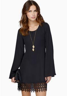Black Plain Lace Long Sleeve Chiffon Dress