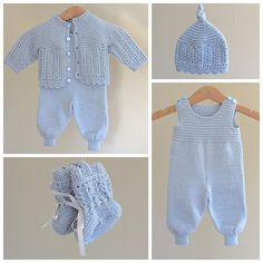 Ravelry: Kirstisi's Hentesett I Blått - Diy Crafts - maallure Baby Dungarees, Baby Jumpsuit, Baby Dress, Knitted Baby Cardigan, Knitted Baby Clothes, Sirdar Knitting Patterns, Layette Pattern, Baby Mittens, Baby Pants
