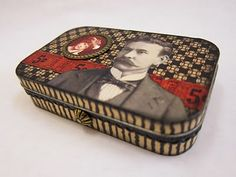 How to cover a metal tin with mod podge and scrapbook paper. Love the attention to detail.