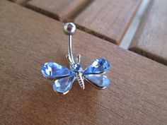 body jewelry light blue butterfly belly button ring
