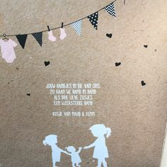 Geboortekaartje binnenkant #zusjes #karton #vlaggetjes