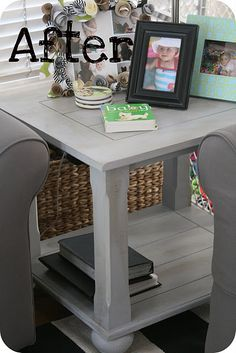 This is our end table, refinished. I must try to do this.