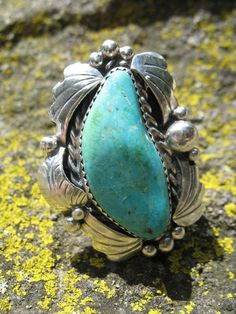 Vintage Turquoise ring Navajo signed JJ \Jerry Johnson\