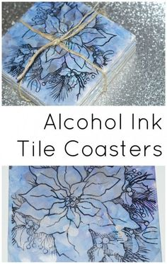 to Make Super Easy and Elegant Upcycled Tile Coasters Stamped alcohol ink upcycled tile coasters - still plenty of time to make these before Christmas!Stamped alcohol ink upcycled tile coasters - still plenty of time to make these before Christmas! Alcohol Ink Tiles, Alcohol Ink Crafts, Alcohol Ink Painting, Alcohol Inks On Glass, Rubbing Alcohol, Diy Art, Zealand Tattoo, Diy Coasters, Coaster Crafts