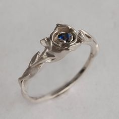 Rose Engagement Ring No.2 - 14K White Gold and Sapphire engagement ring, engagement ring, leaf ring, flower ring, antique, vintage