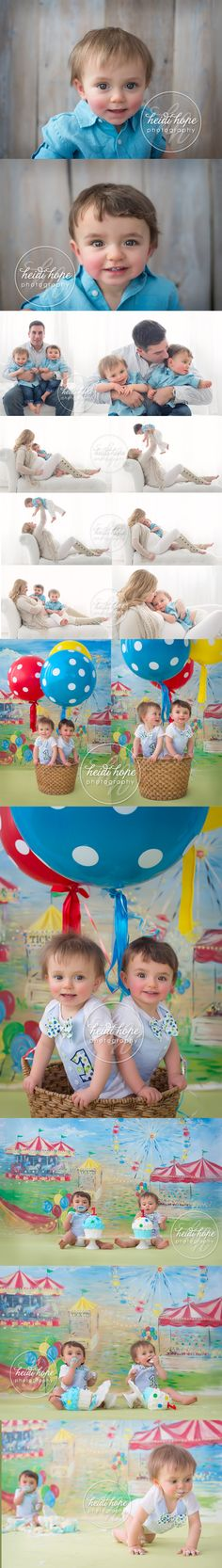 A vintage carnival cakesmash for super cute twin boys along with maternity portraits of mom! #cakesmash #twins