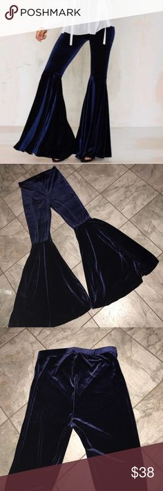 Nasty Gal never worn Blue Velvet bell bottoms These have never been worn from Nast Gal super cute and very 70s trend size M Nasty Gal Pants