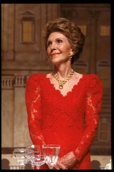 Nancy Reagan in red lace in 1988 - The Cut