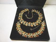CORO Autumn Bracelet & Necklace Set / Gold Tone by CatzShinySmiles