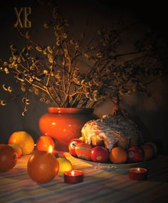 View album on Yandex. Happy Easter, Still Life, Candles, Spring, Painting, Decor, Holidays, Cooking, Happy Easter Day