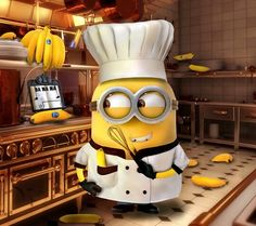 Minion Minions fans despicable me 2 yellow black humor love cute chef