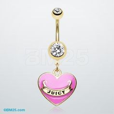 Gold Juicy Banner Heart Belly Ring