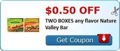 New Coupon!  $0.50 off TWO BOXES any flavor Nature Valley Bar - http://www.stacyssavings.com/new-coupon-0-50-off-two-boxes-any-flavor-nature-valley-bar/