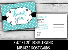 "STELLA & DOT INSPIRED THANK YOU CARDS  A personalized postcard set with your biz info on the back!  :::::DETAILS :::::  * Premium, 90 lb. (235 gsm) glossy card stock.  * Professionally printed.  * 5.47"" x 4.21"", double-sided postcards.  * Back side design includes your personalized business info and a place to write a personalized note.  * PLEASE NOTE: UPS ECONOMY SHIPPING (8 BUSINESS DAYS) IS INCLUDED IN YOUR PRICE!   ··· Pricing ···  50