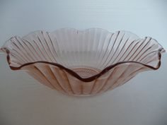 Large Pink Depression Glass Swirl Bowl FREE by 2manywhatnots, $45.00