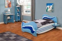 Legare Surfs Up Bedframe With surfboard side rails and a wave design on the headboard and footboard, this bed is perfect for any budding surfer and includes a shelf which can be fitted either side of the bed.