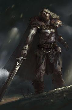 Barbarian, Poll Star on ArtStation at https://www.artstation.com/artwork/5VvJw
