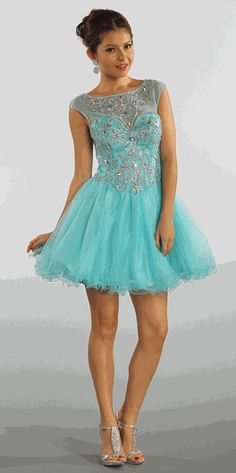Coral Sleeveless Beaded Short Mesh Prom Dress (3-colors S to 3XL) #6892pol