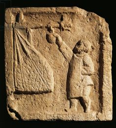 Roman civilization, relief portraying merchant weighing large sack of wool (?) - Museo della Civilta Romana, Rome, Italy