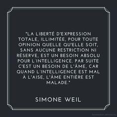 Inspirational Quote: Je suis Charlie : liberté dexpression par Simone Weil  Mosaïques de lectures et dimages