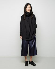 YOHJI YAMAMOTO | Draped Poplin Shirt | Shop at La Garçonne