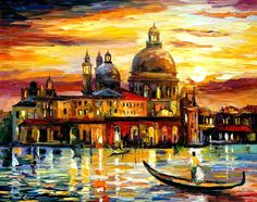 The Golden Skies Of Venice by Leonid Afremov Handmade oil painting reproduction on canvas for sale,We can offer Framed art,Wall Art,Gallery Wrap and Stretched Canvas,Choose from multiple sizes and frames at discount price. Oil Painting On Canvas, Diy Painting, Canvas Wall Art, Painting Abstract, Diy Image, Venice City, Venice Painting, Italy Painting, Leonid Afremov Paintings