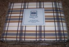 "FULL SIZE SHEET SET BROWNS AND BLUES PLAID 16"" DEEP - NEW #Patterned"