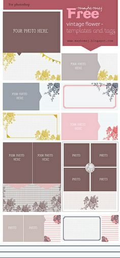 Quality DigiScrap Freebies: Vintage Flower freebie templates and tags from Maybe Mej