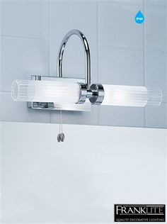 Image Of FRANKLITE GLASS u CHROME OVER MIRROR IP TRIPLE BATHROOM LIGHT FL None